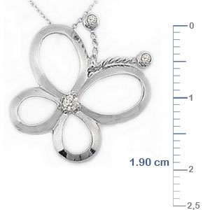 0.05ct. Diamond 14K Solid Gold Butterfly Necklace