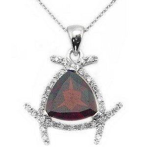 0.11ct. Diamond 18K Solid Gold Modern Design Garnet Necklace