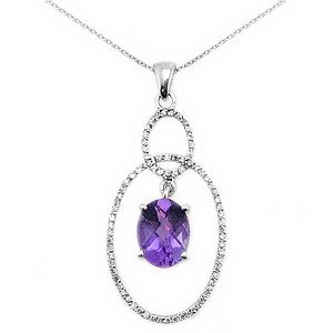 0.18ct. Diamond 18K Solid Gold Modern Design Amethyst Necklace