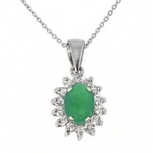 0.21ct. Diamond 0.62ct. Emerald 18K Solid Gold Halo Necklace