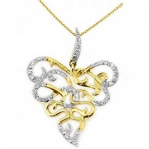 0.16ct. Diamond 18K Solid Gold Modern Design Necklace
