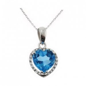 0.05ct. Diamond 18K Solid Gold Heart Blue Topaz Necklace