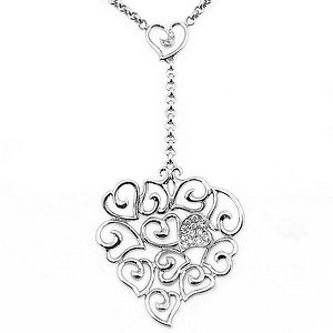 0.1ct. Diamond 18K Solid Gold Heart Necklace