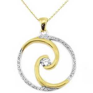 0.22ct. Diamond 18K Solid Gold Modern Design Necklace