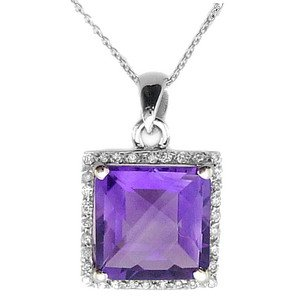 0.11ct. Diamond 18K Solid Gold Modern Design Amethyst Necklace