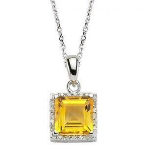 0.05ct. Diamond 18K Solid Gold Modern Design Citrine Necklace