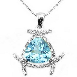 0.11ct. Diamond 18K Solid Gold Modern Design Blue Topaz Necklace