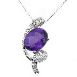 0.1ct. Diamond 14K Solid Gold Modern Design Amethyst Necklace
