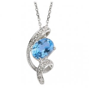 0.1ct. Diamond 14K Solid Gold Modern Design Blue Topaz Necklace