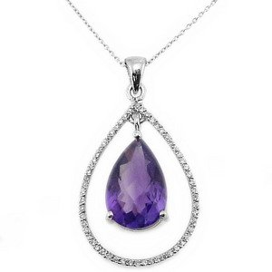 0.14ct. Diamond 18K Solid Gold Modern Design Amethyst Necklace