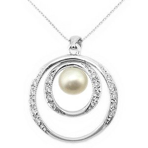 0.13ct. Diamond 18K Solid Gold Pearl Necklace