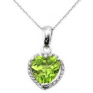 0.05ct. Diamond 18K Solid Gold Heart Peridot Necklace