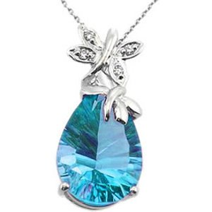 0.02ct. Diamond 14K Solid Gold Butterfly Blue Topaz Necklace