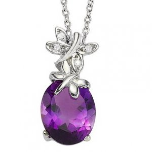 0.02ct. Diamond 14K Solid Gold Butterfly Amethyst Necklace