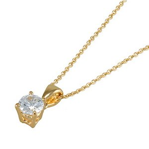 0.21ct. Diamond 14K Solid Gold Solitaire Classic Necklace