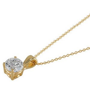 0.31ct. Diamond 14K Solid Gold Solitaire Classic Necklace