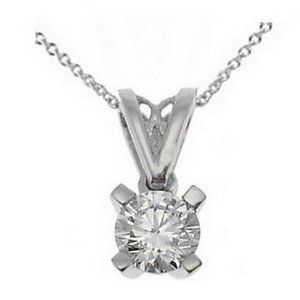 0.31ct. Diamond 18K Solid Gold Solitaire Classic Necklace