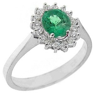 0.16ct. Diamond 0.75ct. Emerald 18K Solid Gold Halo Ring