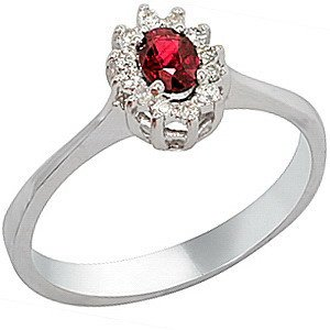 0.08ct. Diamond 0.21ct. Ruby 18K Solid Gold Halo Ring