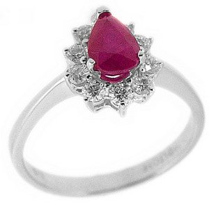 0.36ct. Diamond 0.98ct. Ruby 18K Solid Gold Halo Ring