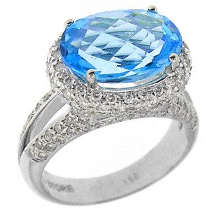 0.86ct. Diamond 18K Solid Gold Blue Topaz Ring
