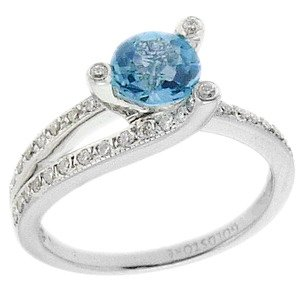 0.3ct. Diamond 18K Solid Gold Blue Topaz Ring
