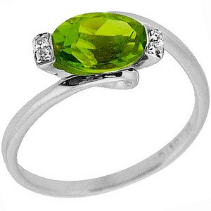 0.02ct. Diamond 14K Solid Gold Modern Design Peridot Ring