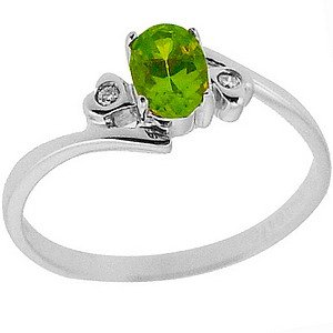 0.02ct. Diamond 14K Solid Gold Peridot Ring