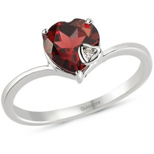 0.01ct. Diamond 14K Solid Gold Heart Garnet Ring