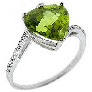 0.04ct. Diamond 14K Solid Gold Heart Peridot Ring