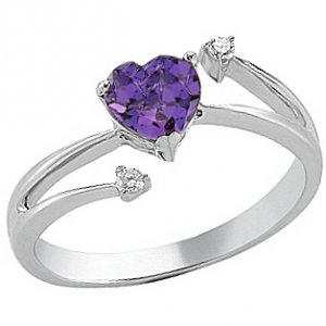 0.04ct. Diamond 14K Solid Gold Heart Amethyst Ring