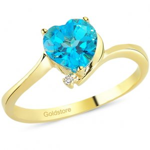 0.01ct. Diamond 14K Solid Gold Heart Blue Topaz Ring
