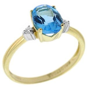 0.04ct. Diamond 14K Solid Gold Blue Topaz Ring
