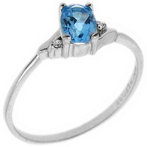0.01ct. Diamond 14K Solid Gold Blue Topaz Ring