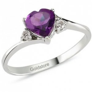 0.04ct. Diamond 14K Solid Gold Modern Design Heart Amethyst Ring
