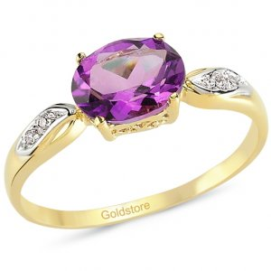 0.02ct. Diamond 14K Solid Gold Amethyst Ring