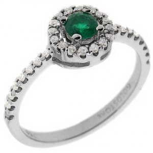 0.16ct. Diamond 0.17ct. Emerald 18K Solid Gold Halo Ring