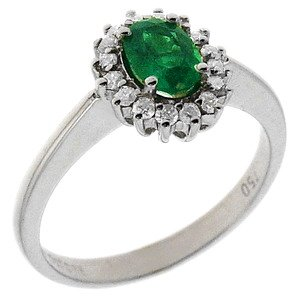 0.17ct. Diamond 0.49ct. Emerald 18K Solid Gold Halo Ring