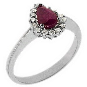 0.15ct. Diamond 0.46ct. Ruby 18K Solid Gold Halo Ring