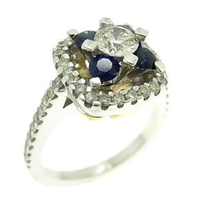 0.96ct. Diamond 0.62ct. Sapphire 18K Solid Gold Modern Design Ring
