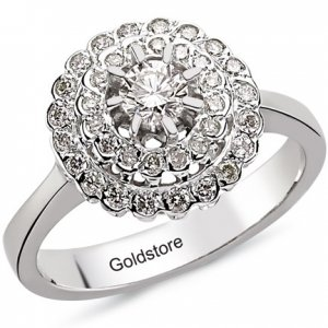 0.51ct. Diamond 18K Solid Gold Halo Ring
