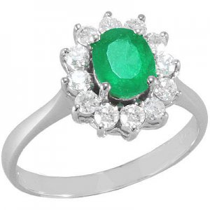 0.42ct. Diamond 0.71ct. Emerald 18K Solid Gold Halo Ring