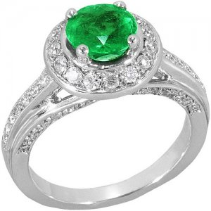0.59ct. Diamond 1.01ct. Emerald 18K Solid Gold Ring