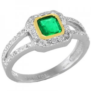 0.3ct. Diamond 0.35ct. Emerald 18K Solid Gold Ring