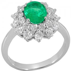 1.19ct. Diamond 1.12ct. Emerald 18K Solid Gold Halo Ring
