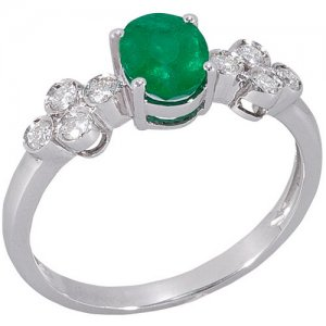 0.16ct. Diamond 0.64ct. Emerald 18K Solid Gold Ring