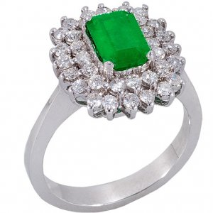 0.78ct. Diamond 1.31ct. Emerald 18K Solid Gold Halo Ring