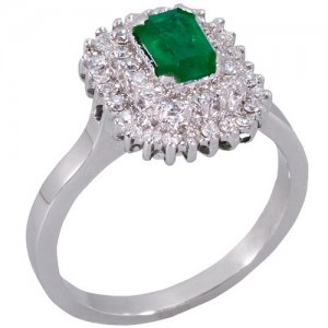 0.35ct. Diamond 0.55ct. Emerald 18K Solid Gold Halo Ring