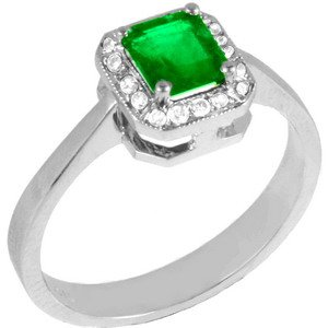 0.08ct. Diamond 0.65ct. Emerald 18K Solid Gold Ring