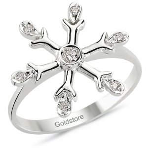 0.08ct. Diamond 14K Solid Gold Snow Flake Ring